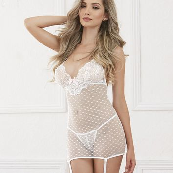 Heart Mesh And Lace Garter Dress