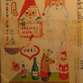 SALE Uncut 1950's McCall's Sewing Pattern, 2276! Nine Christmas Novelties & Complete Alphabet Letters/Santa Mask/Mail Bag/Stockings/Potholde