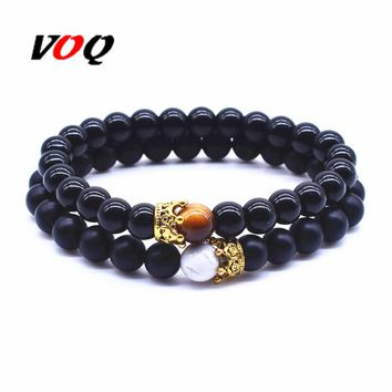 2 Pcs \ Sets Fashion Summer Jewelry Imperial Crown Bracelet Set Elastic Rope Black Natural Stone Couple Bracelet for Women Men