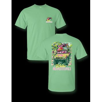 Sassy Frass Hello Adventure Jeep Kayak Trip Comfort Colors Bright T Shirt