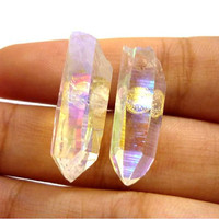 Angel Aura Quartz Rainbow Crystal Point 925 Stud Earrings by AstralEYE