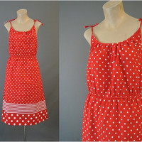 70s Red & White Polka Dots and Striped Sundress, fits 36 bust, Vintage 1970s Tie Shoulder Summer Dress