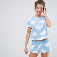 ASOS Cloud Print Tee & Short Pajama Set at asos.com