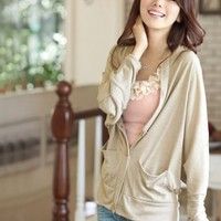 Long Dolman Sleeve Pocket Solid Shirt for Women Khaki  -  BuyTrends.com