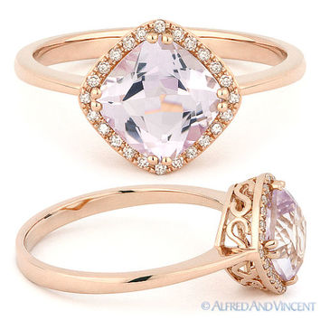 1.52ct Cushion Cut Pink Amethyst & Diamond Halo Engagement Ring in 14k Rose Gold