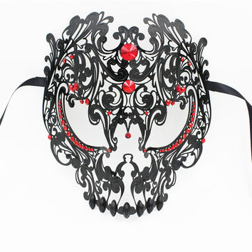 Luxury Phantom Red Rhinestone Venetian Metal Laser Cut Prom Costume Party Masquerade Ball Mask Halloween Skull Evil Cosplay Mask