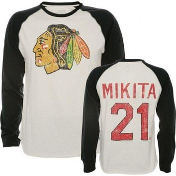 Stan Mikita Old Time Hockey Winfield Long Sleeve Raglan Jersey Chicago Blackhawks T-Shirt