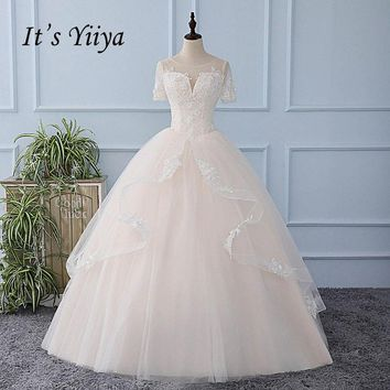It's YiiYa Illusion Sequined Backless Wedding Dress Lace Up Appliques Tulla Bride Wedding Gown Vestidos De Novia Casamento XL612