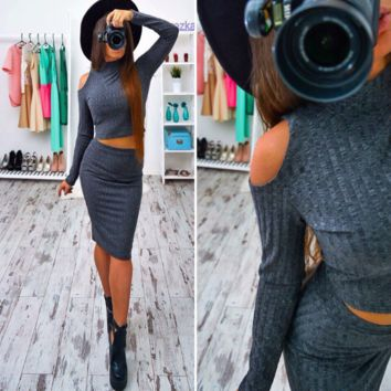 Women's high-necked long-sleeved two-piece grey casual dress