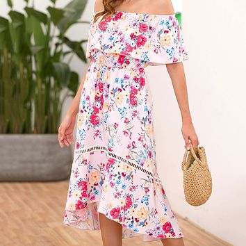 Summer Popular Women Sexy Short Sleeve Off Shoulder Floral Print Fishtail Dress White