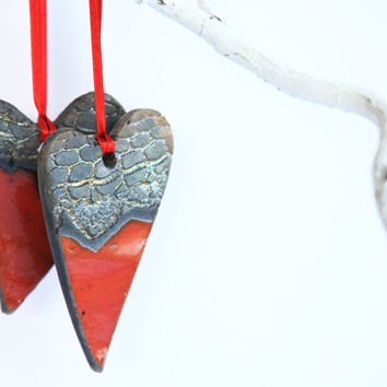 Heart christmas decoration, raku pottery tree ornament, red gold