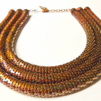 Mesh Necklace Whiting and Davis 3-Strand Coil Copper Color Vintage Signed