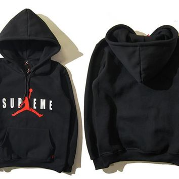 Air Jordan X Supreme Fashion Casual Unisex Solid Color Loose Letter Pattern Print Round Neck Long Sleeve Couple T-shirt Hooded Plus Cashmere Sweater