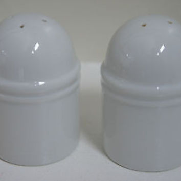"Retro Salt & Pepper Shakers White 3"" Dome Topped Contemporary Look"
