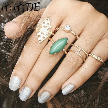 H:HYDE Fashion Bohemia Vintage Opal Rings Set Ethnic Carving Tibetan Antique Silver Color Ring for Women Boho Beach Jewelry