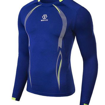 LMFONHC Newest fitness men long sleeve basketball running sports t shirt men thermal muscle bodybuilding gym compression tights shirt