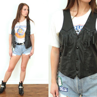 Vintage 70s FRINGE LEATHER Black Sleeveless Lace Up Vest // Biker Moto Hippie Gypsy Boho Hipster Grunge // XS / Small / Medium
