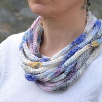 Crocheted multisrand fiber necklace Soft neck warmer Colorful scarf  Purple, blue, grey, pink, white and mustard yellow bulky yarn.