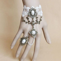 Gothic white lace vintage cameo bracelet and bronze rings from Gothic Clothing