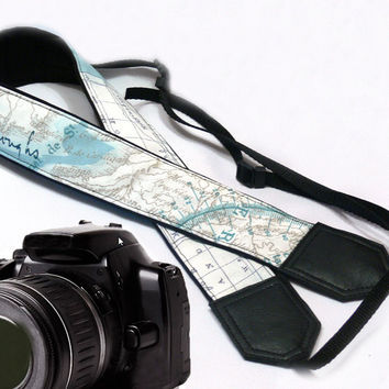 World Map Camera Strap. Vintage Camera Strap. DSLR / SLR Camera Strap. North America. Australia. For Sony, canon, nikon, panasonic, fuji and other cameras.
