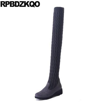 Slim Stretch Shoes Over The Knee Long Fall Cheap Thigh High Boots For Plus Size Women Sock Chunky Heel Knit Grey 9 Slip On 2017