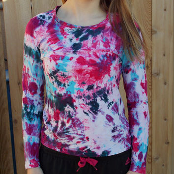 Very Bright and Colorful Tie Dye Long Sleeve Shirt -Purple Pink Turquoise Black - Athletic - Women's Workout Clothing - Size Medium