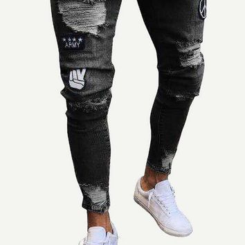 Men Ripped & Patched Detail Tapered Jeans