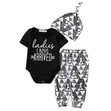 Autumn New baby boy clothes Newborn Baby Girl Boy Cotton Romper +Pants +Hat Outfits Toddler Clothes Set