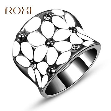 2017 ROXI Women Rings Oil Drop Flower Bague Acier Inoxydable Pour Femme Engagement Ring