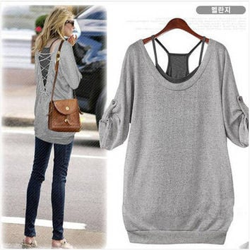 Women's Fashion Long Sleeve Sexy Backless Knit T-shirts Spaghetti Strap Vest Bottom & Top [6050222977]