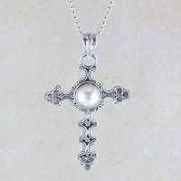 Isabella Spanish Cross Necklace in Sterling Silver