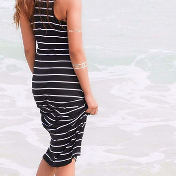Women's Black & White Striped Strapless Sleeveless Cotton Beach Maxi Dress