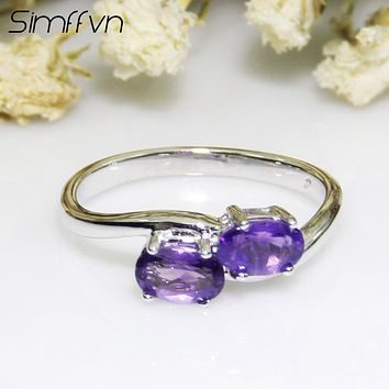 Simffvn Vintage 925 Sterling Silver 6*4 mm 2 stone Natural Amethyst Anniversary Ring Engagement Ring Fine Jewelry for Women