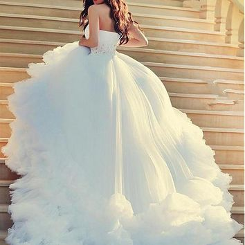 [278.99] Fashionable Tulle & Satin One-shoulder Neckline A-line Wedding Dresses With Beaded Lace Appliques - dressilyme.com