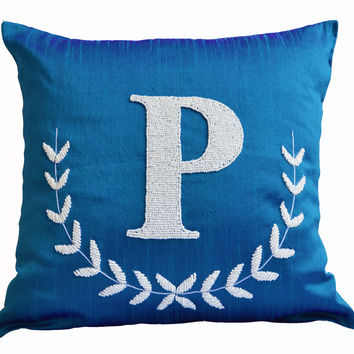 Monogram Pillow - Blue Silk Pillow - Customized letter pillow - Monogrammed throw pillow - Sequin Pillow - Personalized pillow -16x16 pillo