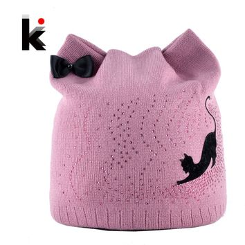 9013e743c9ab4 Winter Beanie Hat With Ear Flaps For Women Black Cat Diamond Bow