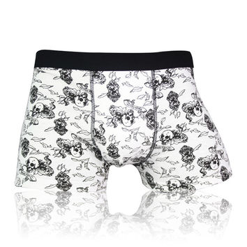 Fashion Skull Boxers Men Underwear Print Cueca Mens Boxers Brand Sexy Cueca Masculina Gay  Cotton Boxer Shorts Homme