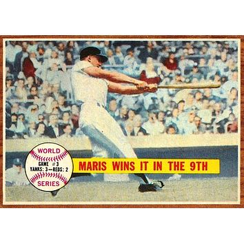"1962 TOPPS #234 ROGER MARIS WORLD SERIES ""MARIS WINS IT IN THE 9TH"" CLEAN NM !!"