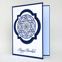 Star of David Symbol Happy Hanukkah Handmade Card Navy And White