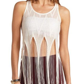 SHIMMER FRINGE CROP TOP