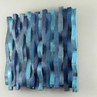 Wall Sculpture, Wooden Wall Hanging, Blue Wall Art