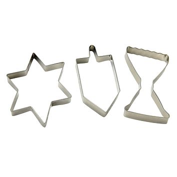 Hanukkah Cookie Cutter Set – 3 Pieces – Menorah, Dreidel and Magen David Star of David Shaped Plastic Cutters - Chanukah Cookware and Bakeware by The Kosher Cook