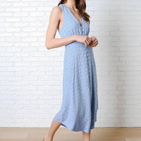 Azure Button-Up Midi Dress