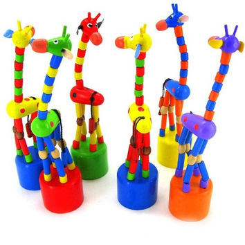 Dazzling Wooden Toys Baby Developmental Dancing Standing Rocking Giraffe Gift = 1695565380