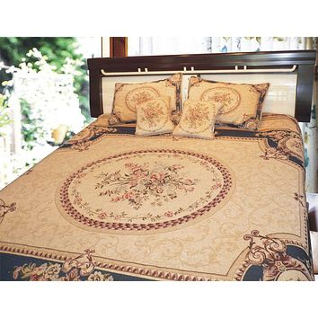 DaDa Bedding Navy Blue Victorian Chenille Floral Medallion Tapestry Bedspread Set, Twin, 3-PCS (11)
