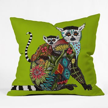 Sharon Turner Lemur Love Lime Throw Pillow