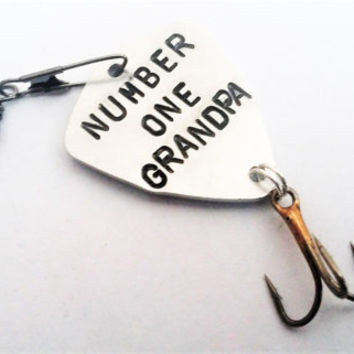 Number one grandpa fishing lure personalized fishing hook Grandpa's lucky lure Father's day gift spinner bait fishing gear Grandfather gift