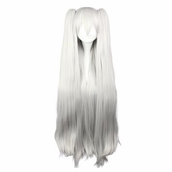 Cosplay and Party Long Straight Sivler Heat Safe Synthetic Ponytails Wig