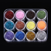 12-colors Blink Spark Glitters Shiny Powder Dust for Nail Art Design Decoration with case
