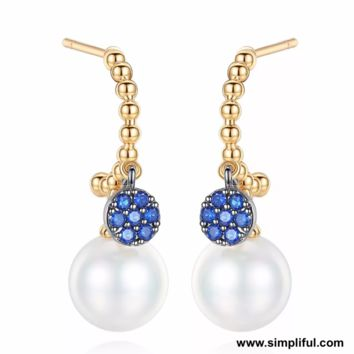 Dual bead hanging ring style CZ Earring
